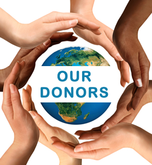"Image of hands surrounding the words ""Our Donors"""